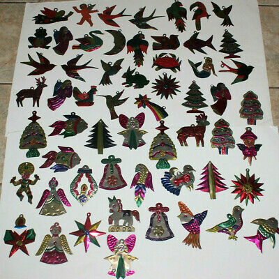 HUGE Lot 57 Vintage Painted Mexican Folk Art Tin Christmas Ornaments Decorations