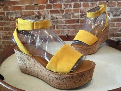 352b589376e0 Franco Sarto Summer Yellow Suede Jovie Ankle Strap Cork Wedge Sandal New