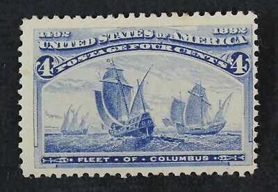 CKStamps: US Stamps Collection Scott#233 4c Columbian Mint H OG Light Gum Dist