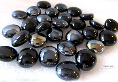 50 BLACK Mirror Glass Round Decorative Pebbles - Beads - Nuggets Garden + NEW