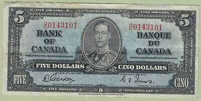 1937 Bank of Canada 5 Dollar Note - Gordon/Towers - O/C0143101 - VF