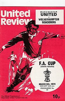 Manchester Utd V Wolverhampton Wanderers Fa Cup 6/3/76