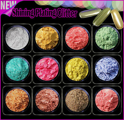 12er Set Chrom Pigment Micro Mirror Plating Puder AGP-202