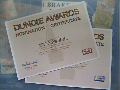 The Office  - Dundie Award Nomination Certificates ( Personalized )