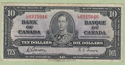 1937 Bank of Canada 10 Dollar Note - Gordon/Towers - L/D6915046 - VF