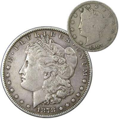 1878 S Morgan Dollar VF-Very Fine With 1907 Liberty Head Nickel Good