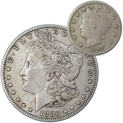 1880 O Morgan Dollar VF-Very Fine With 1907 Liberty Head Nickel Good