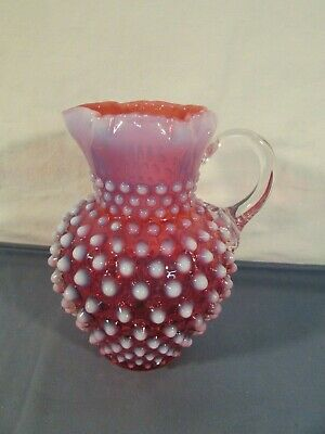 Fenton Pink & White Opalescent Hobnail Pitcher
