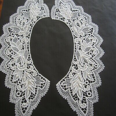 Quality Vintage Austrian Guipure Lace Collar Beaded White 1970s New Costume