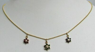 "Delightful 14K Gold Diamonds Rubies Emeralds & Sapphires 16"" Necklace"