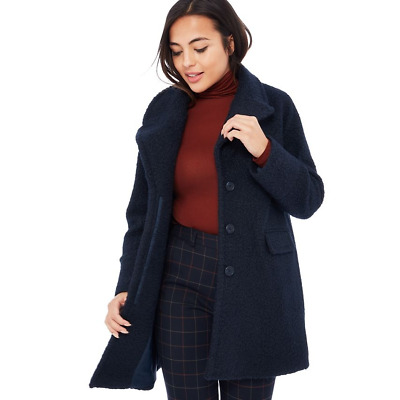 John Lewis Navy Collarless Fitted Slim Versatile Coat Trench Jacket 6 to 18 New