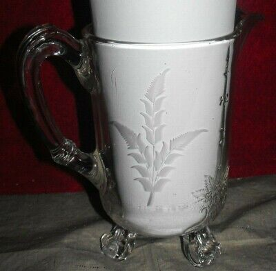 "Antique Vintage 8 5/8"" Clear Glass 3 Footed Water Pitcher by RIVERSIDE Old Nice"