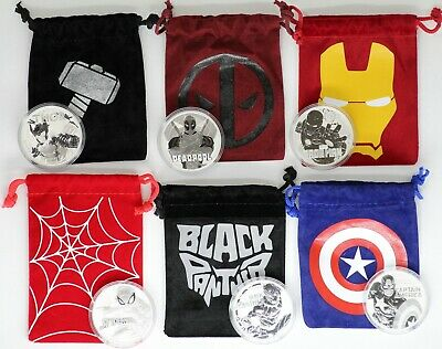 Marvel Comic 1 oz Silver Coin Set Panther Spider-Man Thor Deadpool Capt America