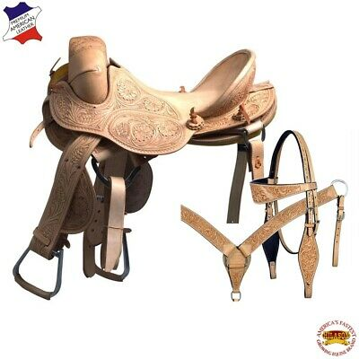 "U-6-15 15"" Hilason Classic Series Hand-Made Rodeo Bronc American Leather Saddle"
