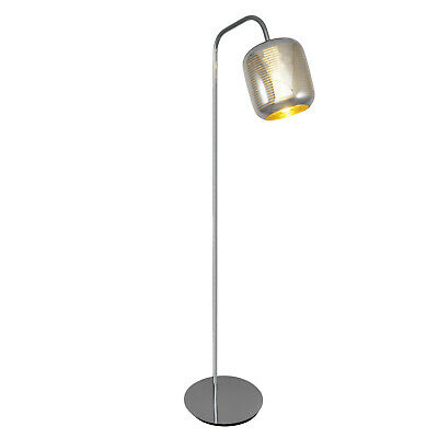 Loop Stand Support de Lampe Sol Lumière Feeling Chrome or Argent Rayé Verre