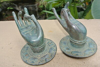 2 small BUDDHA Pull handle hand brass green patina old style knob hook 6 cm B