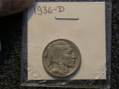 1936 D Indian Head/Buffalo Nickel. A nice looking coin! Some wear. 83 years old!