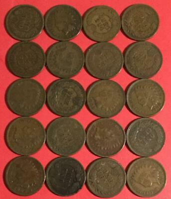 1800s-1900s US Indian Head Cents Set of 20 assorted! All Good & Better! Coins!