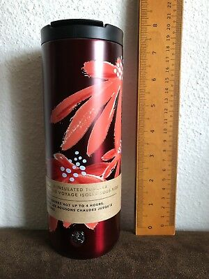 Starbucks 2019 Valentine Insulated Tumbler Stainless Orange Red Floral 16oz NEW