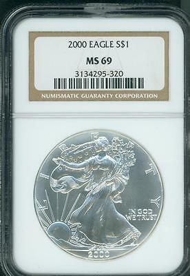 2000 American Silver Eagle S$1 ASE NGC MS69 MS-69 Premium Quality PQ+ !!!
