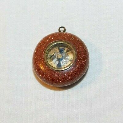 RARE old Victorian Pocket Watch Fob Charm Sandstone with Compass
