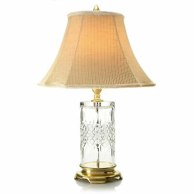"""Waterford Crystal Lismore Reflections 27"""" Table Lamp w/ Striped Shade"""