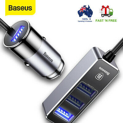 Baseus Multi 4 Ports USB Car Charger 5.5A Fast Car Charging for iPhone Samsung