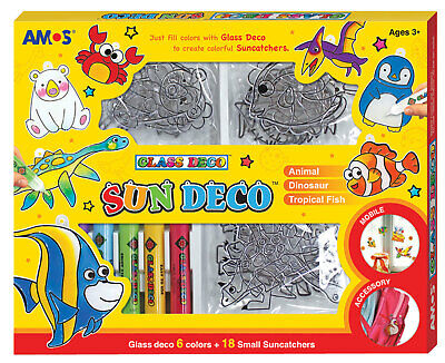 AMOS Suncatcher Glass Deco Decoration Art Craft Kit - 6 Colours 18 Suncatchers