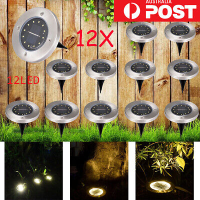 12x Solar Powered 12 LED Buried Inground Recessed Light Garden Outdoor Deck Path