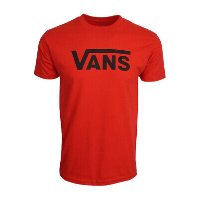 Vans Mens Logo T Shirt Red With Black