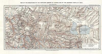 1900 Royal Geographical Society Map of the Strachey Bros. Treks in Tibet
