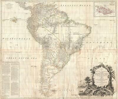 1795 D'Anville Wall Map of South America