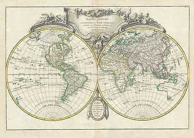 1762 Lattre and Janvier Map of the World on a Hemisphere Projection