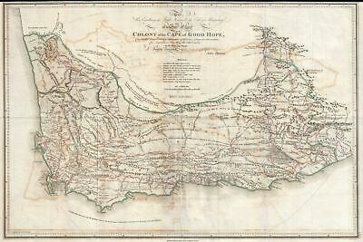 1805 Barrow map of South Africa or the Cape Colony (1st Scientific map thereof)