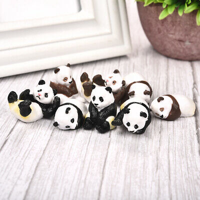 4pcs/set Cute Panda Moss Micro Landscape Terrarium Figurine Decoration Resin