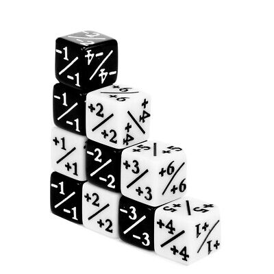 10x Dice Counters Positive +1/+1 &  Negative -1/-1 For Magic: The Gathering Toy