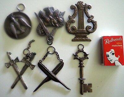 6 Vintage Masonic Jewels - Original - 2 With Makers Stamp