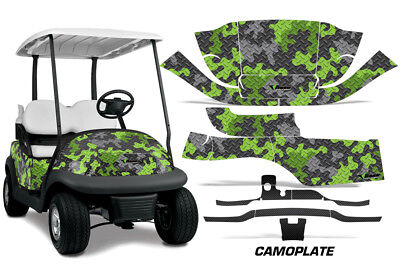 Club Car Precedent I2 Golf Cart Graphics Kit Wrap Decals 2008-2013 CAMOPLATE GRN
