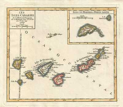 1749 Vaugondy Map of the Canary Islands