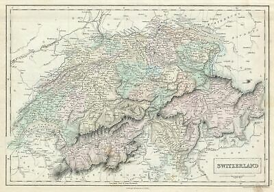 1851 Black Map of Switzerland