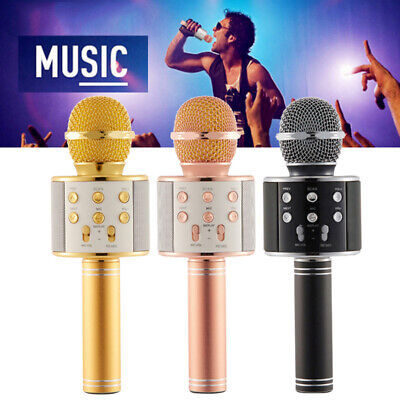Wireless Bluetooth Karaoke Handheld Microphone Stereo Mic KTV Speaker Player au