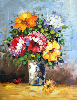 """Vase of Flowers - Signed Hand Painted Flower Oil Painting On Canvas 16x20"""""""