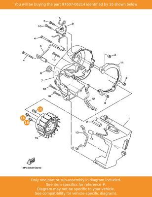 YAMAHA Screw,with Washer, 97607-06214 Fowlers Parts OEM