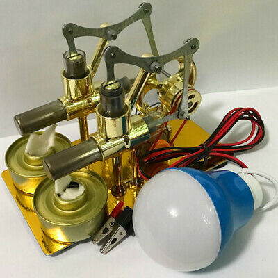 Double Cylinder Hot Air Stirling Engine Motor Model Generator Miniature Kids Toy