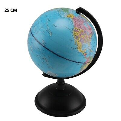 25 cm  Rotating Earth Globe World Map Swivel Stand Geography Educational Toy