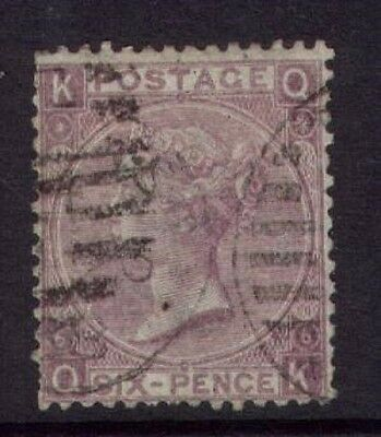 1867/80 QUEEN VICTORIA 6d LILAC SG104 PLATE 6 USED