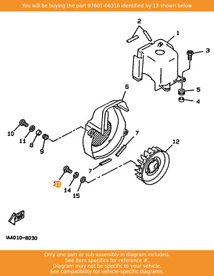YAMAHA Screw, Pan Head With Washer, 97601-06316 Fowlers Parts OEM