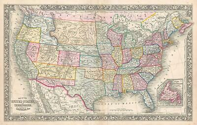 1861 Mitchell Map of the United States