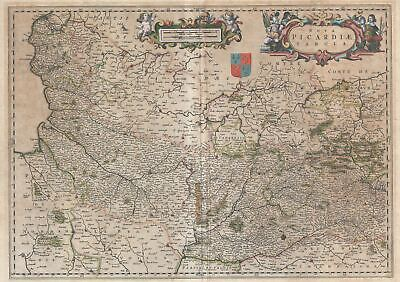 1660 Blaeu Map of Picardy, France