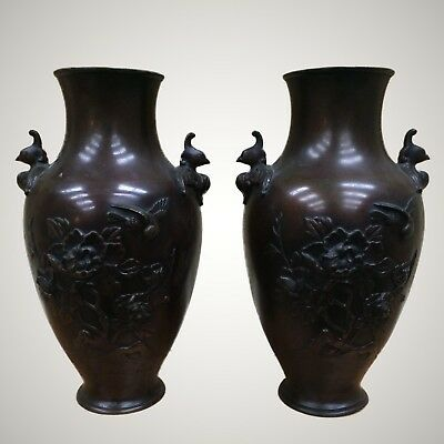 Pair Antique Japanese Bronze Vases with Bird Handles and High Relief Body